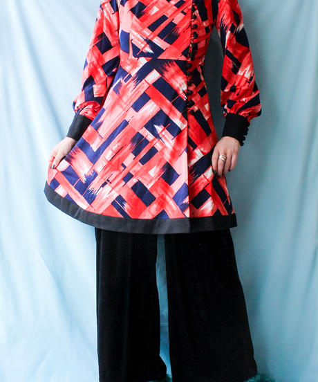 【tiny yearn】1970's Art Pattern Mini Dress