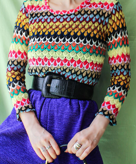【tiny yearn】Colorful Mesh Design Knit Tops