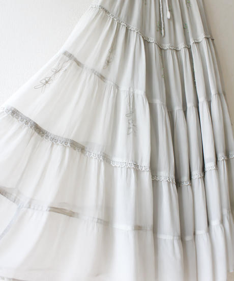 【Seek an nur】India Embroidery Tiered Skirt