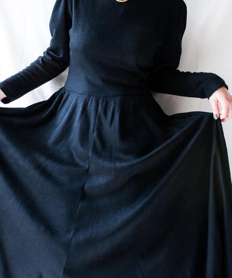 【Seek nur】Black Flare Wool Jersey Dress