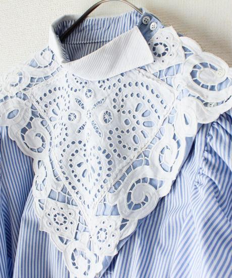 【Seek nur】Euro Stripe Lace Design Blouse