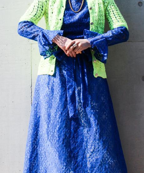 【tiny yearn】1960's Flower Lace Handmade Dress