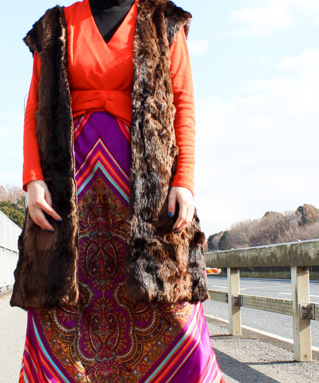 【tiny yearn】Brown Fur Liner Long Vest