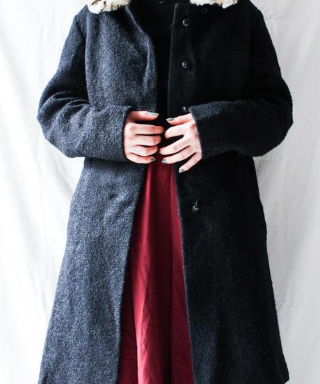 【Seek nur】Leopard Fur Collar Wool Coat
