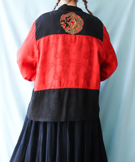 【tiny yearn】Embroidery Bicolor China Blouse