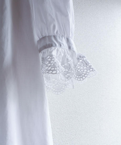 【Seek nur】Euro Lace Frill White Blouse