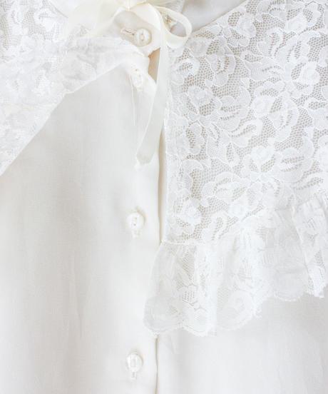【Seek nur】Lace Collar White Sheer Blouse