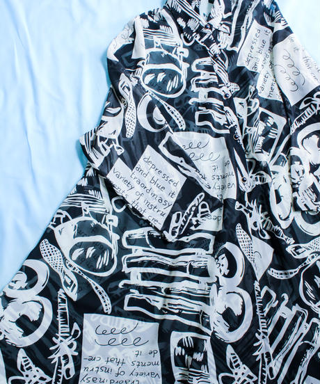 【tiny yearn】Art Pattern Sheer Shirt Dress