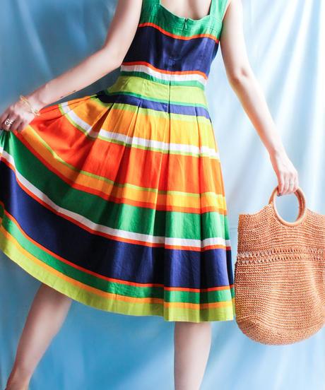 【tiny yearn】Multi Border Flare Dress