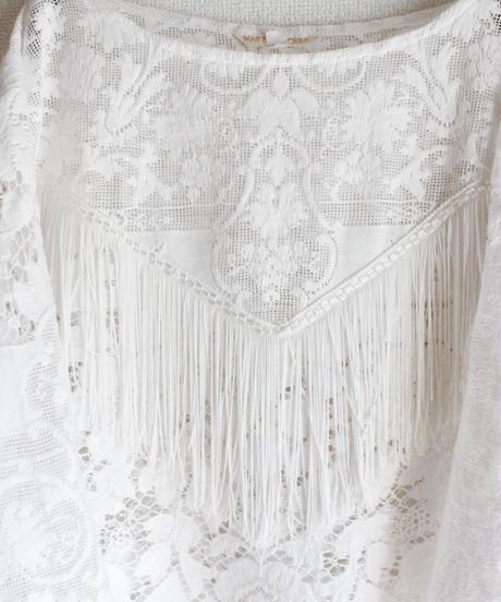 【Seek nur】White Lace Fringe Tops