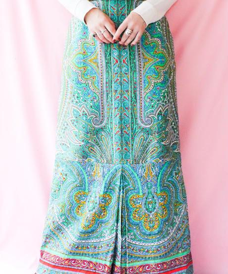 【tiny yearn】Euro Oriental Pattern Maxi Skirt
