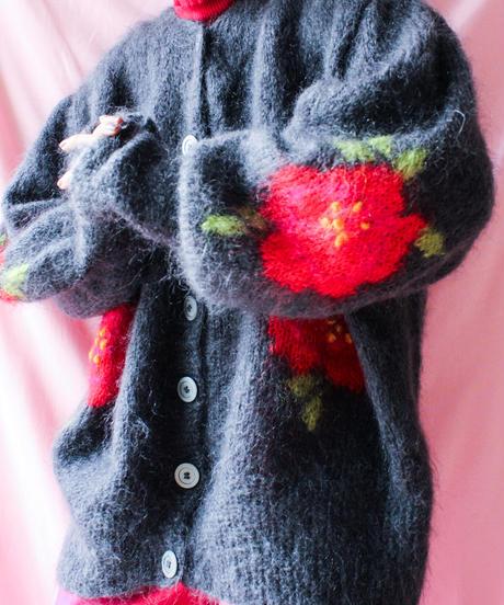 【tiny yearn】Euro Flower Mohair Long Cardigan
