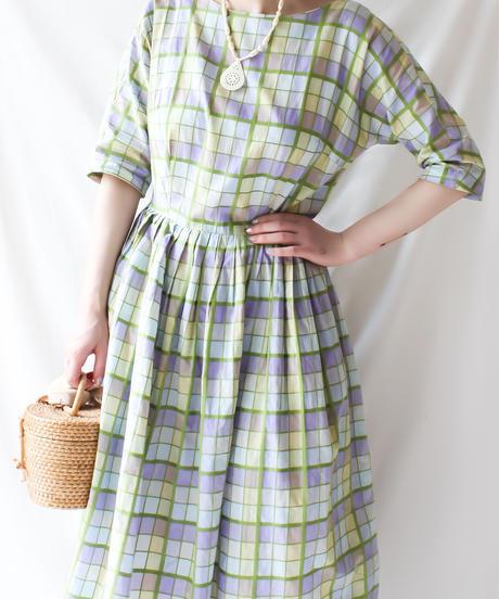 【Seek an nur】1950's Mulch Check Flare Dress