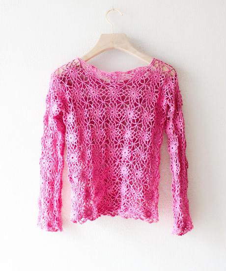 【tiny yearn】Vintage Flower Crochet Tops