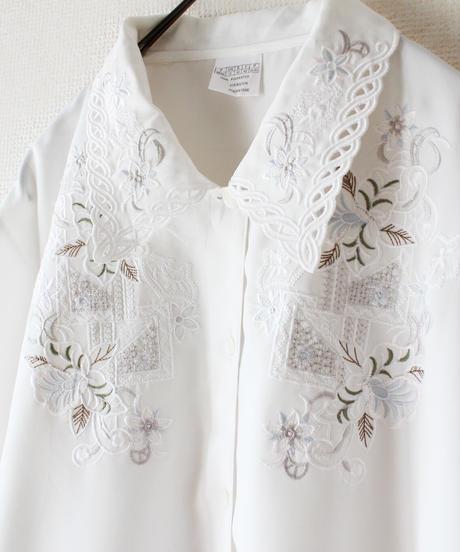 【Seek an nur】Euro White Embroidery Blouse