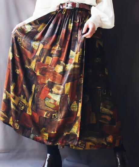 【Seek an nur】Euro Art pattern Long Skirt