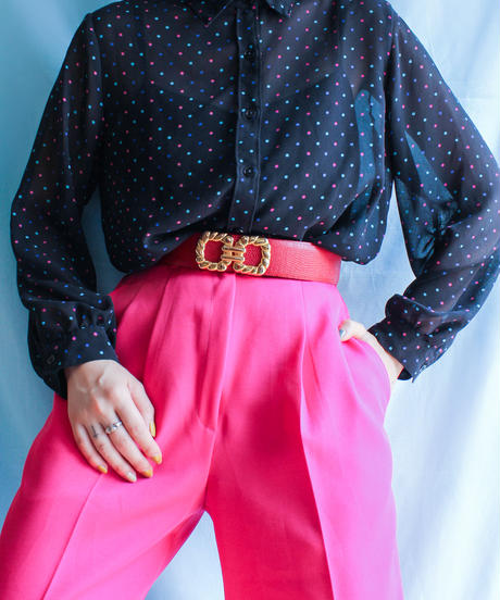 【tiny yearn】Colorful Dot Black Sheer Blouse