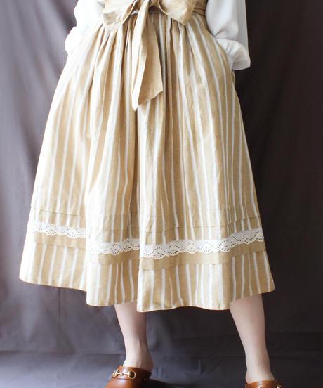【Seek an nur】Euro Stripe Lace Long Skirt