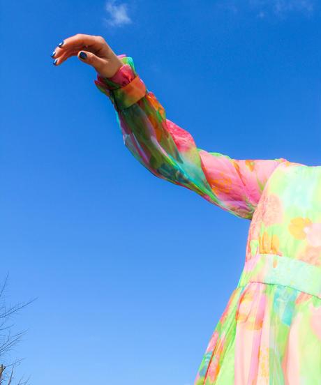 【tiny yearn】1970's Art Flower Sheer Maxi Dress