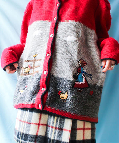 【tiny yearn】Euro Farm Embroidery Tyrol Cardigan