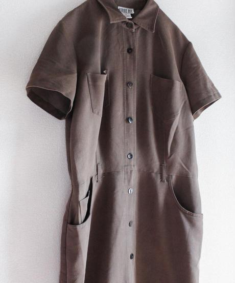 【Seek nur】Dark Brown Long Shirt Dress