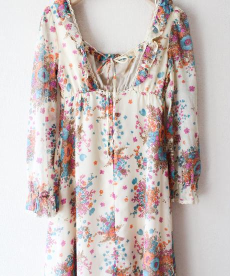 【tiny yearn】1970's Flower Sheer Maxi Dress