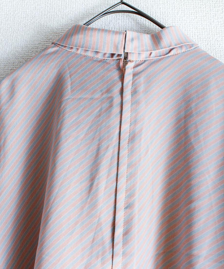 【Seek nur】Roll Collar Stripe Tops
