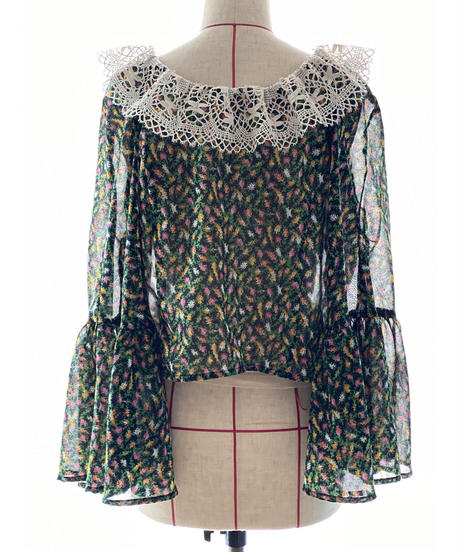 【Sway】<Black Forest> Vintage fabric Cache-coeur Blouse