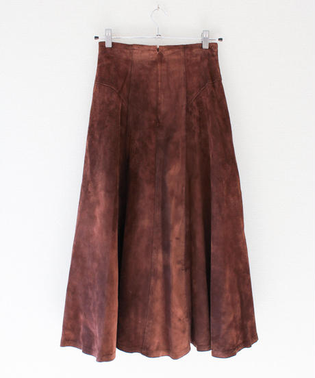 【Seek nur】Dark Brown Suede Flare Skirt