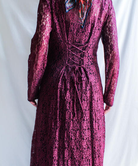 【Seek nur】 Bordeaux Lace Long Dress