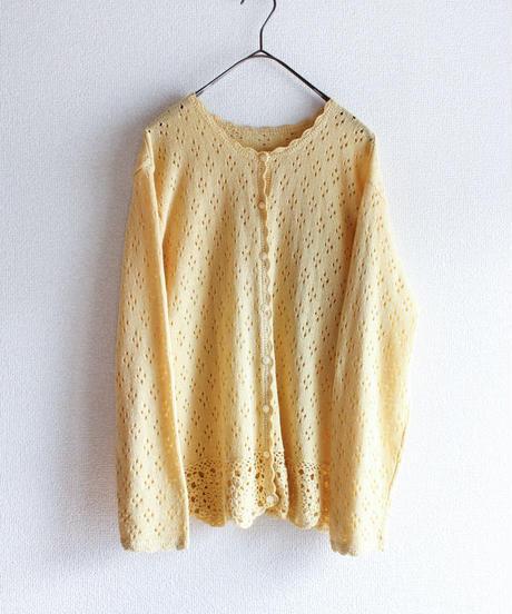 【Seek nur】 Pastel Yellow Openwork Cardigan