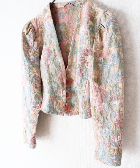 【Seek an nur】Euro Flower Gobelin Short Jacket