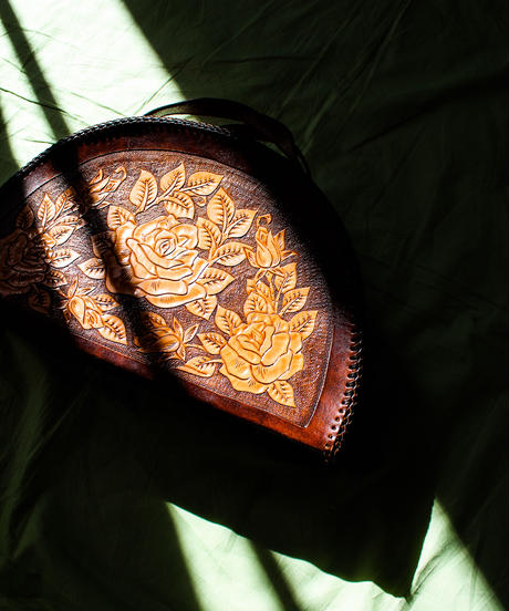 1970's Flower Carving Leather Hand Bag