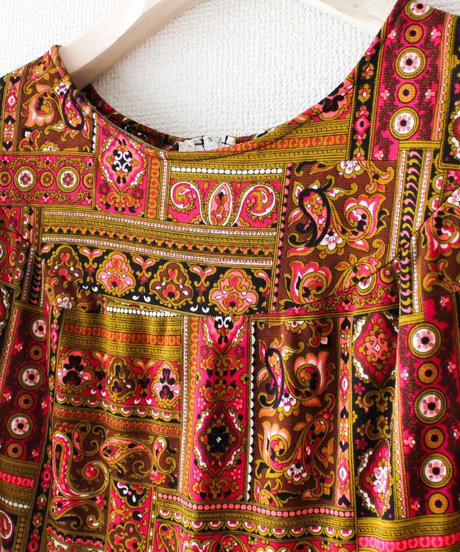 【tiny yearn】Euro Oriental Pattern Flare Dress