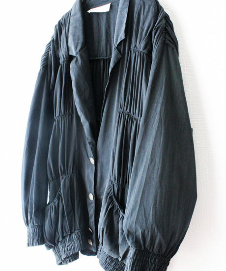 【Seek nur】Gather Design Black Over Jacket