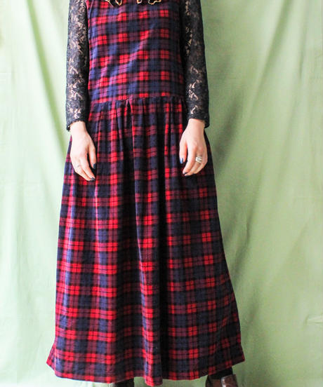 【tiny yearn】Check Corduroy Over Dress