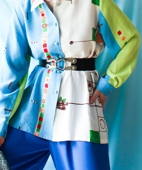 【tiny yearn】1980's Euro Art Over Blouse