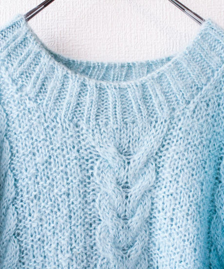 【tiny yearn】Light Blue Mohair Hand Sweater