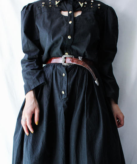 【Seek nur】Cutout Design Black Shirt Dress
