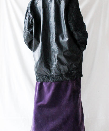 【Seek nur】Italy Black Leather Long Jacket