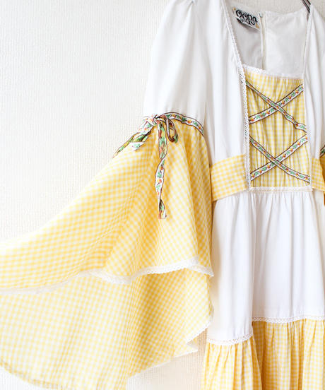 【tiny yearn】1970's Gingham check Tiered Maxi Dress