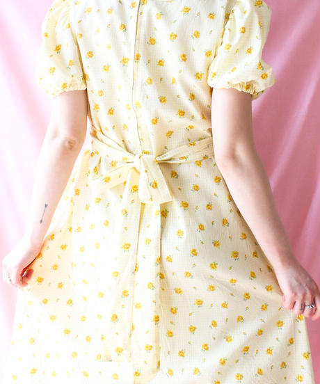 【tiny yearn】1970's Flower Gingham checkDress