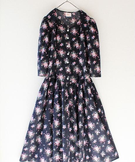 【Seek nur】Flower Puff Sleeve Flare Dress