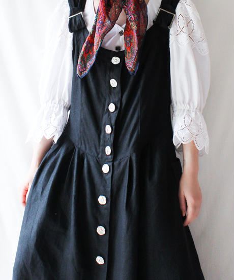 【Seek an nur】Euro Black Linen Tyrol Dress