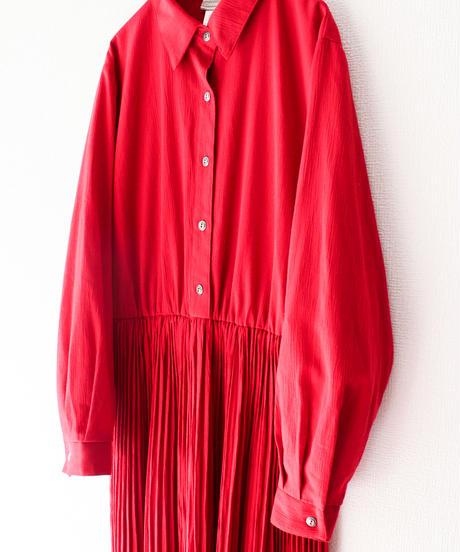 【Seek nur】Accordion Pleats Shirt Dress