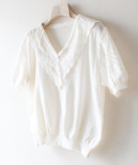 【Seek an nur】Euro Open work Short Sleeve Knit