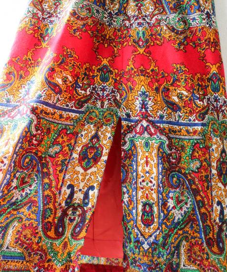 【Seek nur】50〜60's Oriental Wool Maxi Skirt