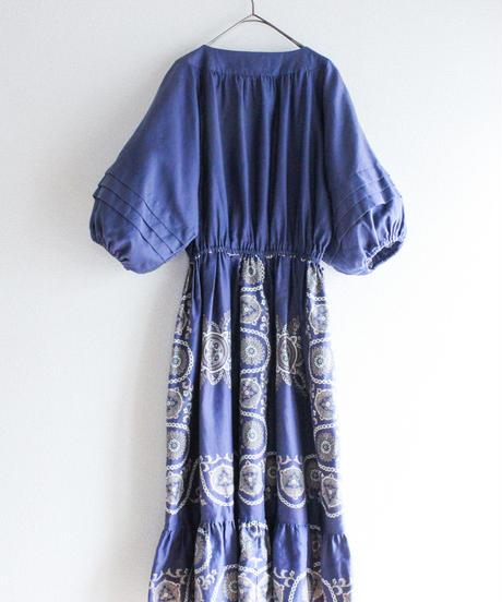 【Seek nur】Oriental Pattern Balloon sleeve Dress