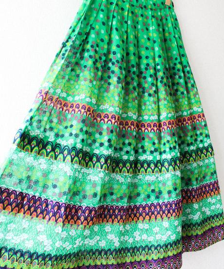 【tiny yearn】Euro Art Pattern Long Skirt
