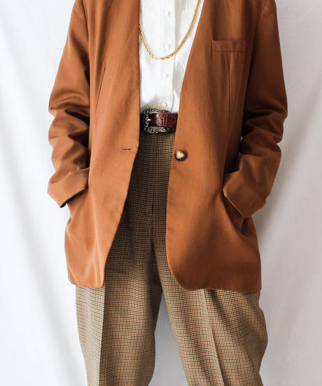 【Seek nur】Brown Collarless  Jacket